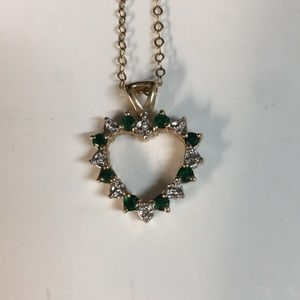 Jewelry - Ruby, emerald, diamond 14k gold necklace heart
